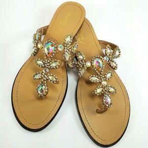 New Madeline Stuart Jeweled Embellished Sandals 10